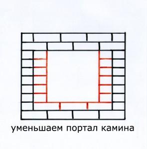 Уменьшаем портал камина