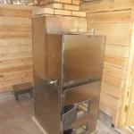 Банная печь в каркасе из нержавейки