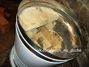 Круглая голландка под ключ. Перекрытие топки шамотной плитой